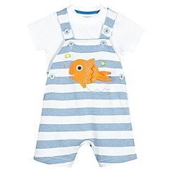 bluezoo - Babies blue fish striped bibshorts set
