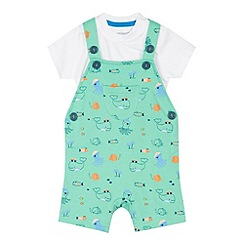 bluezoo - Babies green under the sea print dungarees and bodysuit set