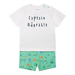 bluezoo - Babies white 'Captain Adorable' t-shirt and shorts set