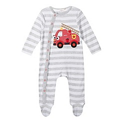 bluezoo - Babies grey applique fire engine sleepsuit
