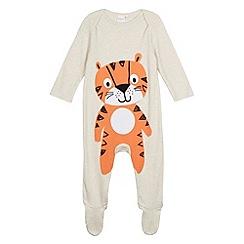 bluezoo - Babies beige tiger printed sleepsuit
