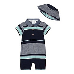 J by Jasper Conran - Designer babies navy multi striped romper suit and hat set