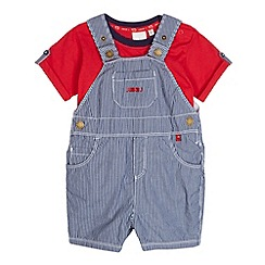J by Jasper Conran - Designer babies blue striped dungarees and t-shirt set
