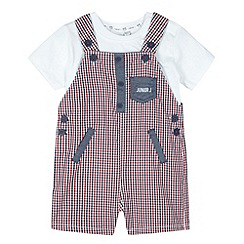 J by Jasper Conran - Designer babies red gingham dungarees and t-shirt set