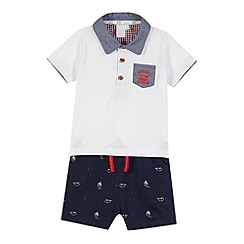 J by Jasper Conran - Designer babies white polo and shorts set