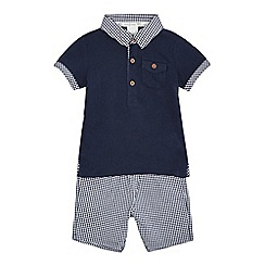 J by Jasper Conran - Designer babies navy checked collar polo shirt and shorts set