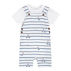 J by Jasper Conran - Designer boy's white nautical dungarees and bodysuit set