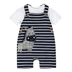 RJR.John Rocha - Designer babies navy zebra bibshorts set