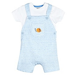 bluezoo - Babies blue textured marble bibshorts set