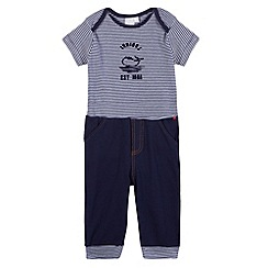 J by Jasper Conran - Designer babies navy striped bodysuit and jogging bottoms set