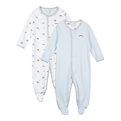 J by Jasper Conran - Pack of two designer babies blue striped and train printed sleepsuits