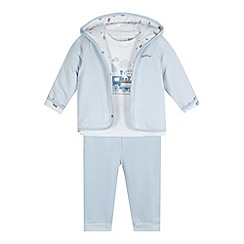 J by Jasper Conran - Designer babies blue train applique top, jacket and bottoms set
