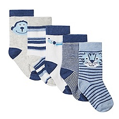 bluezoo - Pack of five babies blue animal socks