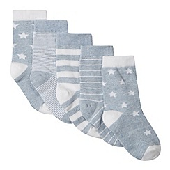 bluezoo - Pack of five babies blue striped socks
