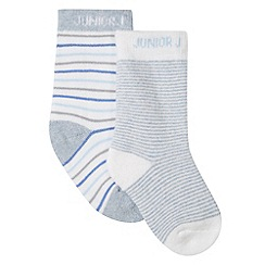 J by Jasper Conran - Designer pack of two babies blue striped socks