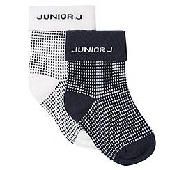 J by Jasper Conran - Designer pack of two babies navy spot socks