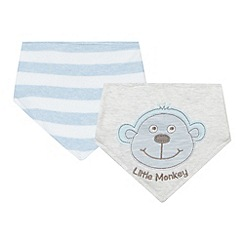 bluezoo - Pack of two babies blue striped and monkey applique dribble bibs