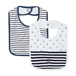 J by Jasper Conran - Designer pack of two babies navy stripe bibs