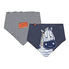 RJR.John Rocha - Designer pack of two babies navy zebra dribble bibs
