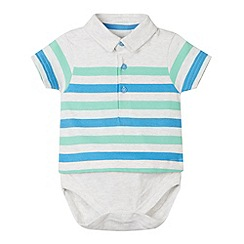bluezoo - Babies grey 2-in-1 striped polo shirt and bodysuit