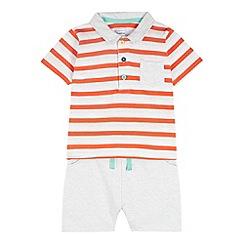 bluezoo - Babies dark orange striped polo shirt and shorts set