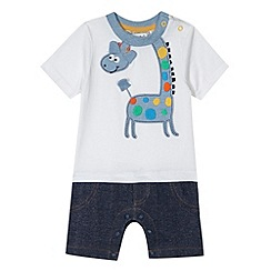 bluezoo - Babies blue giraffe applique romper suit
