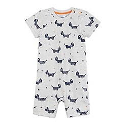 bluezoo - Babies grey dog printed romper suit