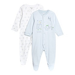RJR.John Rocha - Designer set of two babies grey striped elephant bear sleep suits