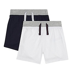 bluezoo - Pack of two babies navy and white linen blend shorts