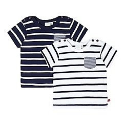 J by Jasper Conran - Pack of two designer babies navy striped t-shirts