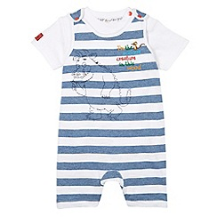 The Gruffalo - Babies blue striped graphic print bibshorts