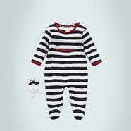 Designer Babies navy striped baby grow and teddy bear set