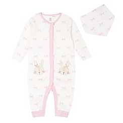 bluezoo - Babies cream bunny bow sleepsuit and dribble bib set