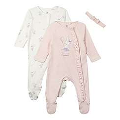 bluezoo - Pack of two babies pale pink bunny sleepsuits