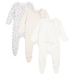 bluezoo - Pack of three babies pink bunny sleep suits