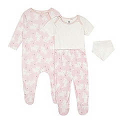 bluezoo - Babies pink cat print four piece starter set