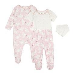 bluezoo - Babies pink cat print four piece starter set