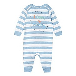 bluezoo - Babies blue 'I Love My Mummy' striped sleepsuit