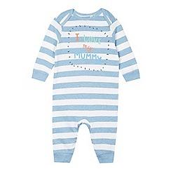 bluezoo - Babies blue 'I Love My Mummy' striped sleepsuit