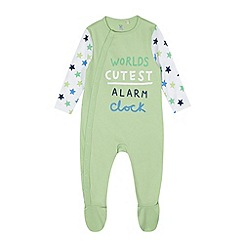 bluezoo - Babies green 'World's Cutest Alarm Clock' sleepsuit