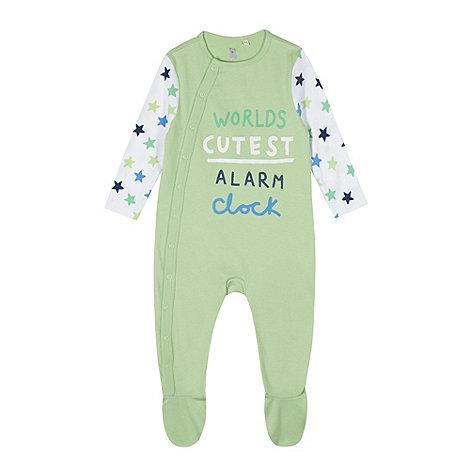 bluezoo - Babies green +World+s Cutest Alarm Clock+ sleepsuit
