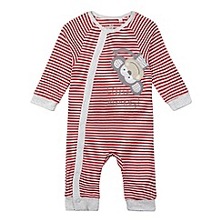 bluezoo - Babies red striped monkey sleepsuit
