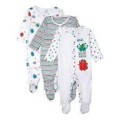bluezoo - Pack of three babies white monster and star sleepsuits