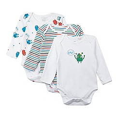bluezoo - Pack of three babies white monster bodysuits