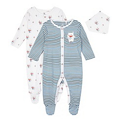 bluezoo - Pack of two babies blue striped and bear printed sleepsuits with bib