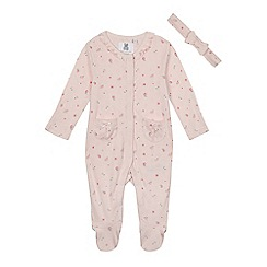 bluezoo - Babies pink floral sleepsuit and headband
