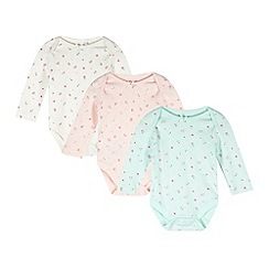 bluezoo - Pack of three babies cream, pink and green floral pointelle bodysuits