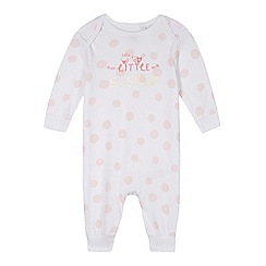 bluezoo - Babies pink spotted 'Little Sister' sleepsuit