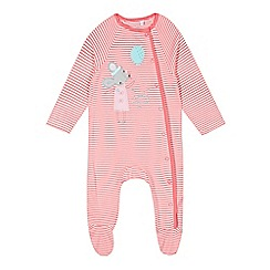 bluezoo - Babies pink mouse applique sleepsuit