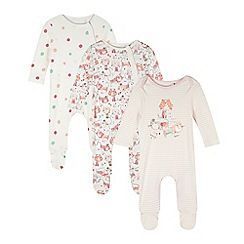 bluezoo - Pack of three babies peach cat print sleepsuits